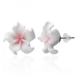 Boucles fimo 03 - Fleur blanche