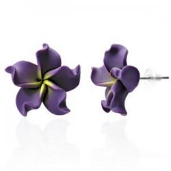 Boucles fimo 04 - Fleur violette