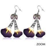 Boucles fimo 06 - Fleur pendante violette