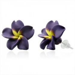 Boucles fimo 20 - Fleur violette et jaune