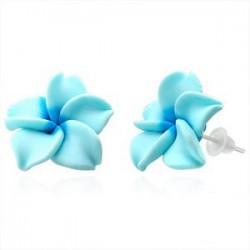 Boucles fimo 21 - Fleur turquoise