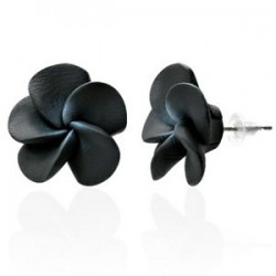 Boucles fimo 22 - Fleur noire
