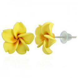 Boucles fimo 27 - Fleur jaune