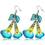 Boucles fimo 34 - Fleur pendante turquoise