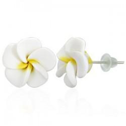 Boucles fimo 40 - Fleur blanche
