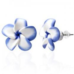 Boucles fimo 42 - Fleur bleue et bleue