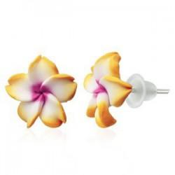 Boucles fimo 45 - Fleur orange et blanche