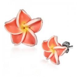 Boucles fimo 46 - Fleur orange