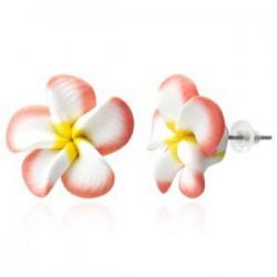 Boucles fimo 47 - Fleur rose et blanche