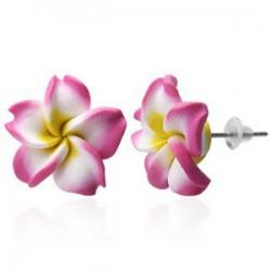 Boucles fimo 49 - Fleur rose et jaune