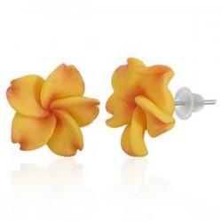 Boucles fimo 50 - Fleur orange