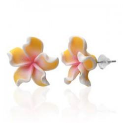 Boucles fimo 53 - Fleur orange