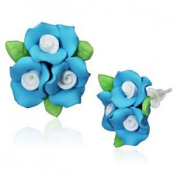 Boucles fimo 56 - Bouquet turquoise