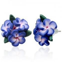 Boucles fimo 57 - Bouquet bleu