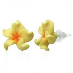 Boucles fimo 58 - Fleur jaune