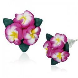 Boucles fimo 60 - Bouquet rose