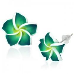Boucles fimo 63 - Fleur verte