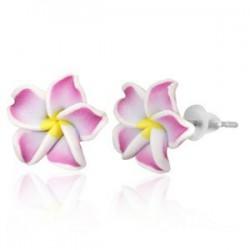 Boucles fimo 64 - Fleur blanche et rose