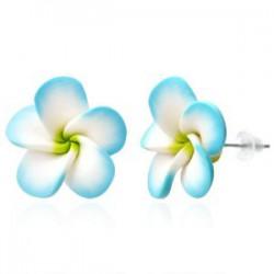 Boucles fimo 67 - Fleur blanche et bleue