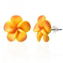 Boucles fimo 68 - Fleur orange