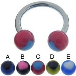 Piercing micro-circulaire 71 - UV coeur bicolore