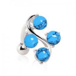Piercing nombril pierre semi-précieuse 29 - Turquoise