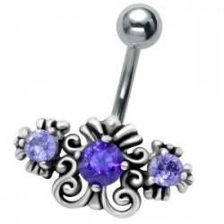Piercing nombril vintage zircone bleu (D193)