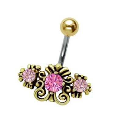 Piercing téton fleur roses avec strass plaqué or rose