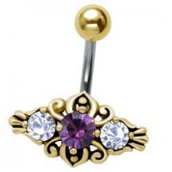 Piercing nombril plaqué-or 81 - Vintage lilas