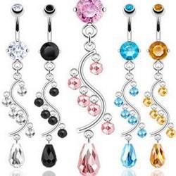 Piercing nombril chandelier perles (D36)