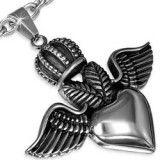Pendentif gothique 56 - Couronne avec ailes et coeur