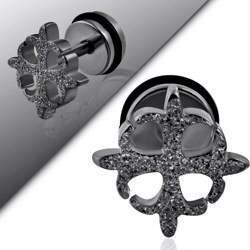 Faux-écarteur acier 169 - Satin noir quatre fleurs de lys