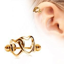 Piercing hélix 128 - Deux coeurs dorés