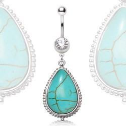 Piercing nombril pierre semi-précieuse 35 - Pendentif turquoise