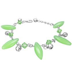 Chaine de cheville fantaisie 16 - Vert pomme longues perles