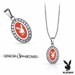 Collier Playboy 02 - Ovale rouge