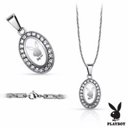 Collier Playboy 03 - Ovale blanc