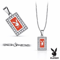 Collier Playboy 05 - Rectangulaire rouge