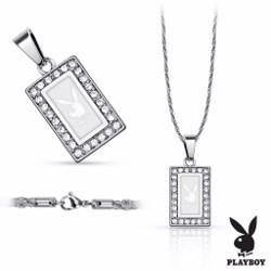 Collier Playboy 06 - Rectangulaire blanc