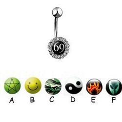 Piercing nombrils logos série strass deluxe