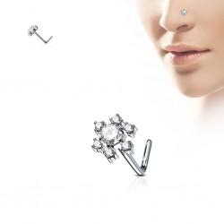 Piercing nez courbé 0.8mm 58 - Fleur zircones transparents