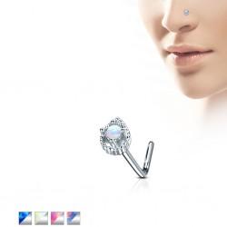 Piercing nez courbé 0.8mm 67 - Coeur avec opale