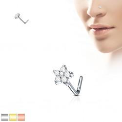 Piercing nez courbé 0.8mm 68 - PVD fleur avec zircones