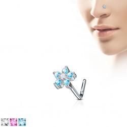Piercing nez courbé 0.8mm 69 - Fleur zircones colorés