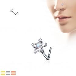 Piercing nez courbé 0.8mm 70 - PVD fleur avec opale