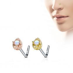 Piercing nez courbé 0.8mm 72 - PVD goutte avec opale