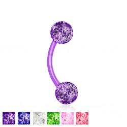 Piercing pour arcade acry 44 - Flexible boule paillettes