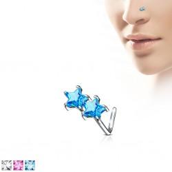 Piercing nez courbé 0.8mm 79 - Etoile cristal coloré