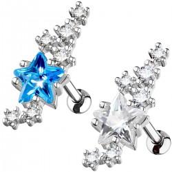 Piercing hélix 165 - Etoile et cristaux