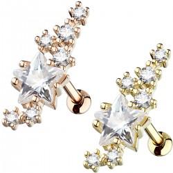 Piercing hélix 165 - Etoile et cristaux gold-ip